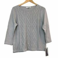 NEW NWT ALLISON DALEY Stripe Knit Gray Sweater Top 3/4 Sleeve PETITE Large PL LP