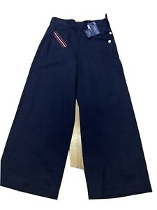 Polo Ralph Lauren Wide Trousers Navy Blue Ladies Women 6 Small New