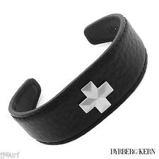 DYRBERG/KERN Alban Collection Leather Cross Cuff Bracelet Mat Silver Finish