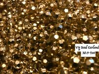 Lot Faux Mercury Bead Gold Christmas Tree Garlands 30.9Ft Vtg Holiday Decoration
