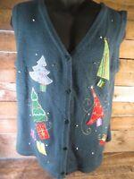 Green CHRISTMAS TREES Winter Christmas Sweater Vest Women's Size XL (16-18)