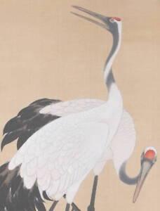 Japanese Hanging Scroll 墨亭 大亦 Painting OLD Crane Pine Art Antique KAKEJIKU c815
