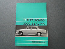 Alfa Romeo 2000 Berlina / Instruction Book  5/1974 (ENGLISH)