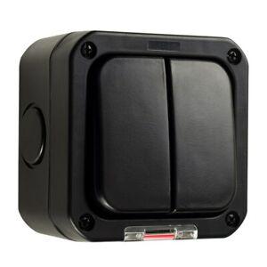 Waterproof Black IP66 Outdoor Garden Weatherproof 2 Gang 10A Double Light Switch