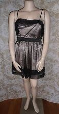 PORTMANS Sz 16 14 beige black doted nylon mesh overlay strappy cocktail Dress