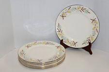 "VINTAGE ROYAL MONARCH VICTORIA; 6 - 10 1/2"" DINNER PLATES BROWN GOLD AQUA FLORAL"