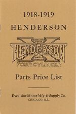 1918-1919 HENDERSON MOTORCYCLE PARTS LIST - ANTIQUE REPRODUCTION