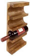 Wooden Wine Rack 1 - 4 Bottles Wall Mounted Holder Storage Display Mango Wood