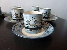 7 Tasses à la Licorne au Loup Faience de CHAROLLES  J MOLIN 50/60 Vintage  Cup
