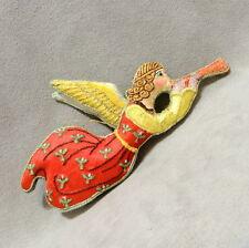 "Christmas Ornament Fabric Angel Archangel Raphael Trumpet Pottery Barn Tagged 6"""