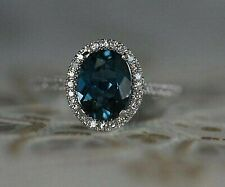 1.50 CT Oval Cut London Blue Topaz 14k White Gold Over Halo Diamond Wedding Ring