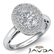 Ring Gia F Vs2 Platinum 1.86ct Halo Pave Set Oval Diamond Lustrous Engagement