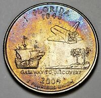 2004-P CHOICE BU FLORIDA STATE QUARTER COLOR TONED MUST HAVE GREAT CONDITION