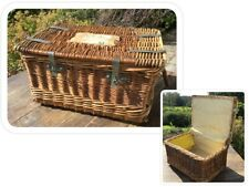 Original Vintage Wicker Lined Lidded Industrial Laundry Box Crate