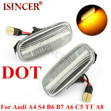 For Audi A4 S4 B6 B7 A6 C5 A8 White Dynamic Flowing LED Side Marker signal Light