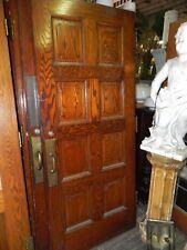 WPA Era 1930's Vintage Raised Cut Corner Panel Oak Doors with Hinges