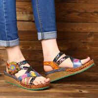SOCOFY Women Retro Flower Genuine Leather Shoes Hook Loop Wedge Heel Sandals
