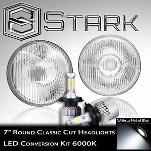 "H6024 Head Light Glass Housing Lamp Classic Chrome 7"" Round LED Convesion Kit"
