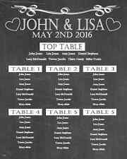PERSONALISED Wedding Table Plan A1 canvas Vintage Chalkboard Style Seating large