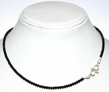 """Black Spinel 4 mm Round Cut Beads 925 Sterling Silver 16"""" Strand Necklace RFFD47"""