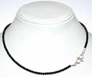 """Black Spinel 3 mm Round Cut Beads 925 Sterling Silver 16"""" Strand Necklace ED78"""