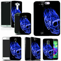 art case cover for All popular Mobile Phones -inferno skull blue silicone