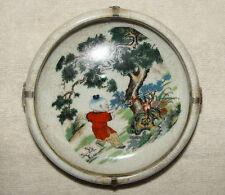 Alte Markierte Chinesisch Porzellan Dosen / Töpfe, mit Silber Dekoration #0103