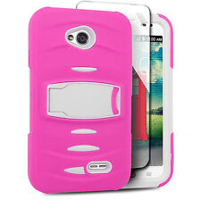 For LG Optimus L70 Exceed 2 Hard Phone Case Cover with Kickstand + Screen Pink