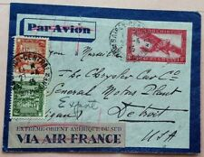 INDOCHINA 1935 AIRMAIL COVER TO U. S. WITH EXTREME ORIENT AMERIQUE DU SUD LABEL