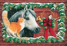 Leanin' Tree Christmas Card - Horse & CatTheme - ID#314