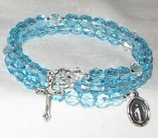Rosary Wrap Bracelet Lt  Aqua Faceted Czech Beads  Crystal AB BiconesHandcrafted