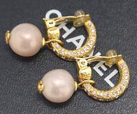 CHANEL CC Pearl Dangle Earrings Rhinestone Gold Tone Clips w/BOX v1433