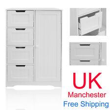4 Drawer Bathroom Cabinet Storage Unit Wooden Chest Cupboard White Door Draw UK