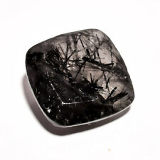 NATURAL BLACK RUTILE CUSHION FACETED GEMSTONE 13.45 CT. 16X16X7 MM AK-4219