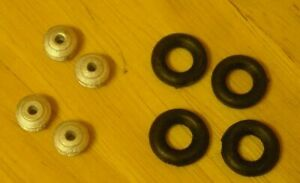 1/43rd scale Dinky wheel hubs with black tyres by K&R Replicas