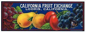 ORIGINAL FRUIT CRATE LABEL VINTAGE CALIFORNIA FRUITS 1930 SCARCE LOOMIS IMAGE D2