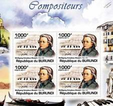 WOLFGANG AMADEUS MOZART & Piano / Composer Stamp Sheet #2 of 5 (2011 Burundi)