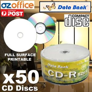 50 x Data Bank CD-R Blank CD R 700MB 52X Blank CDs Full Hub White Printable CDR