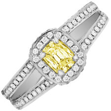 b5b2a059d Cushion Cut Fancy Yellow GIA 2.50 CT Diamond Engagement ring in 18k White  Gold