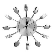 Moderne Horloge Murale Forme Coutellerie Cuisine Cuillère Décor de Maison