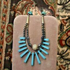 "long necklace 925 sterling clasp Estate Vintage Turquoise Hematite festoon 21"""