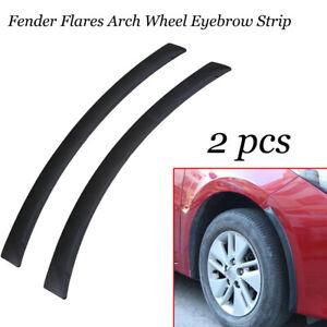 2pcs Car Fender Flares Arch Wheel Eyebrow Protector Sticker Black Rubber Strip