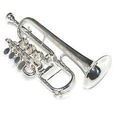 Karl Glaser Hoch B Piccolo Trompete versilbert 4 Zylinder Drehventile & Koffer