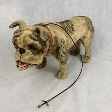 Dog Walking Toy on Wheels with Leash Bobblehead Nodder Bulldog Vintage Rare