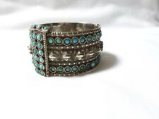Rare Antique heavy STERLING + TURQUOISE handcrafted CUFF BRACELET 137 grams