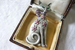 VINTAGE JEWELLERY SIGNED JJ ENAMEL CAT ANIMAL BROOCH PIN