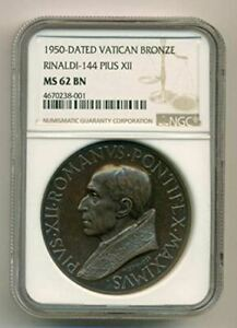 Vatican Pius XII 1950 Dated Bronze Medal Rinaldi-144 MS62 BN NGC Top Pop