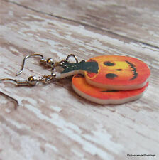 Vtg Halloween ephemera postcard image orange pumpkin black cat kitty earrings