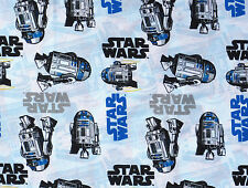 STAR WARS MOVIE FILM LOGO R2 D2 ROBOT GALAXY 100% QUILTING COTTON FABRIC YARDAGE