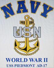 USS PIEDMONT  AD-17* WORLD WAR II* TENDER  U.S NAVY W/ ANCHOR* SHIRT